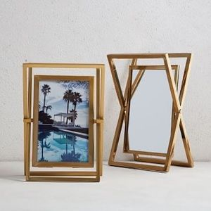 WEST ELM • 5x7 gold swivel picture frame